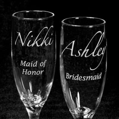 Etched champagne flutes for bridesmaids