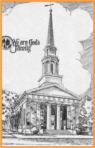 Line art drawing of traditional Baptist church
