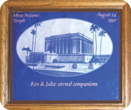 Etched rendering of LDS Temple Mesa Arizona on cobalt blue art glass