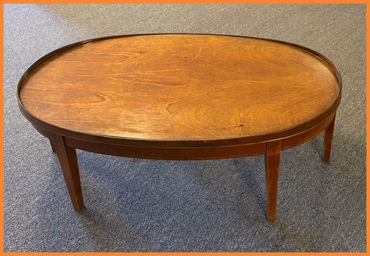 oval-shaped wooden table