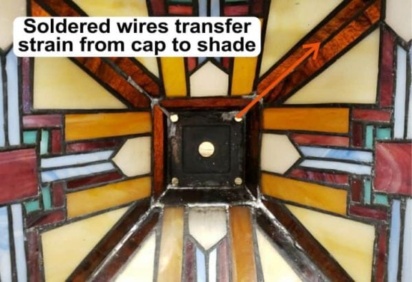 Reinforced crown in Tiffany-style lamp shade
