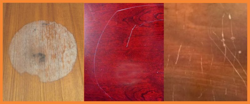 wooden tabletop marred by stains and scratches