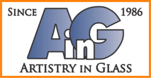 Artistry in Glass logo since 1986