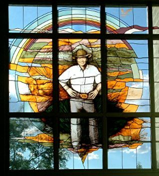 Stained Glass window celebrating Tucson Benefactor Bill Clements