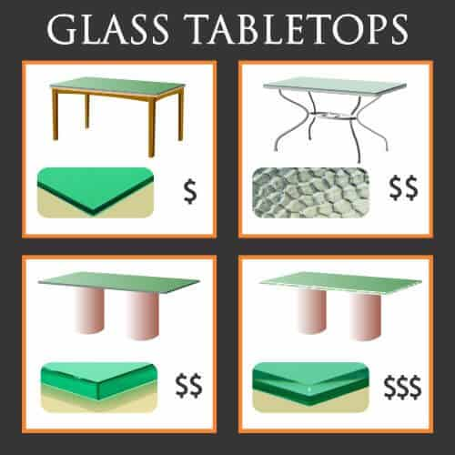four types of glass tabletop are protective, patio, heavy and decorative