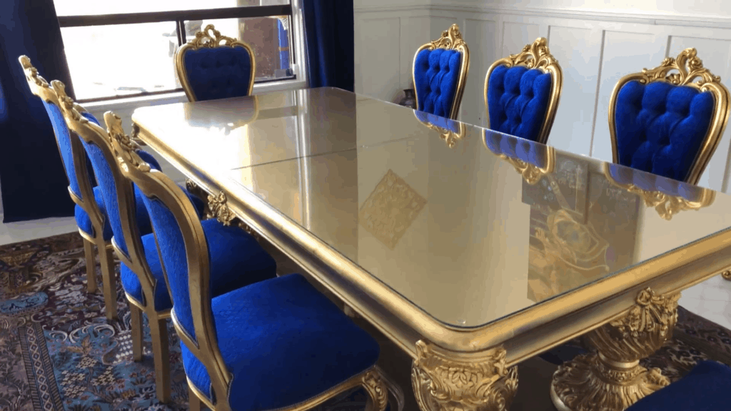 gilded table with low-iron glass top