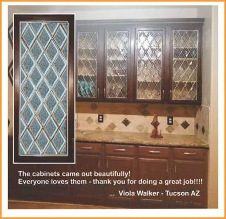 Cabinet doors with leaded gluechip bevels