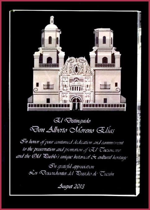 Crystal plaque for San Xavier Mission