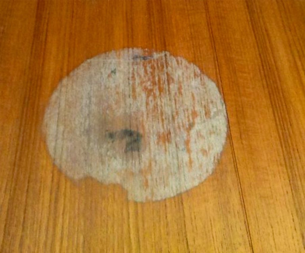 water stain on oak tabletop