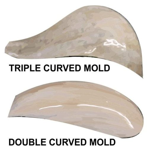 Curved mold shapes for slag glass lamps
