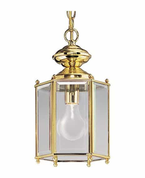 Brass lamp with beveled glass