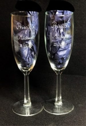 Calligraphy etched on flutes