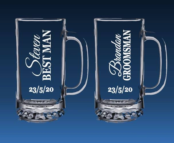 Etched beer mugs for best man