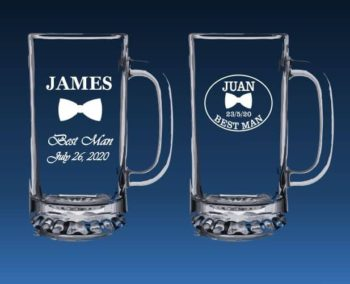 Best man beer mugs with bow-tie etching