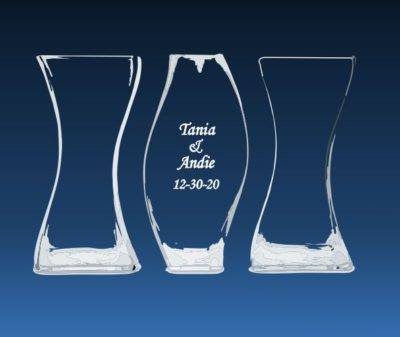 Etched vases for the sand ceremony