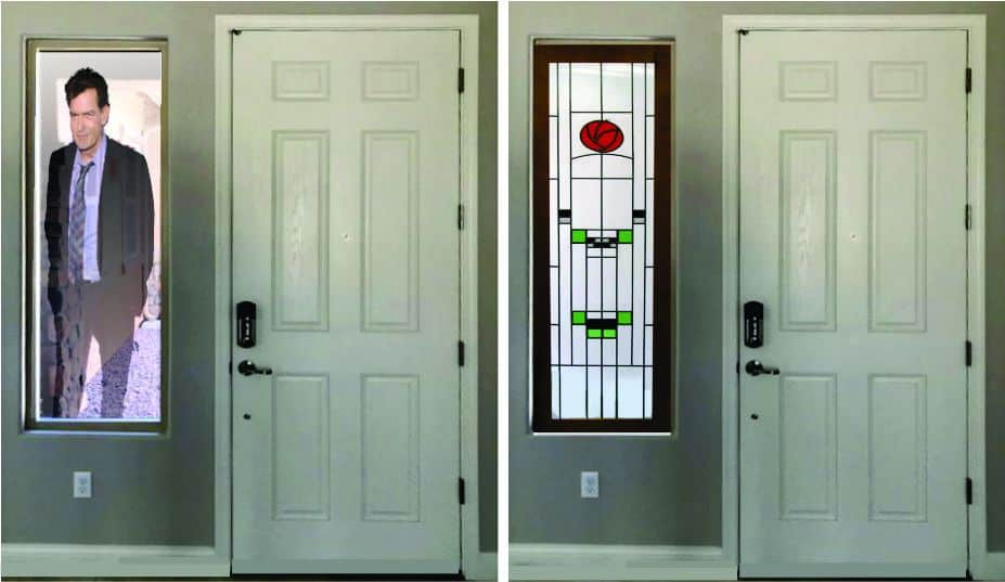Privacy provided by stained glass