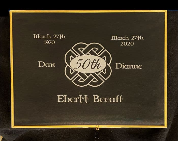 Glass Box etched for 50th anniversary gift