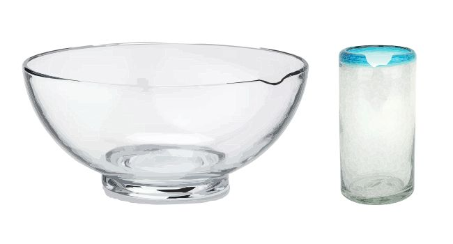 Inexpensive glass bowl and drinking glass with chips