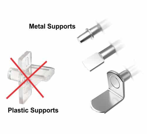 Metal glass supports are safer than plastic
