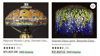Stained glass lampshades advertised on Etsy