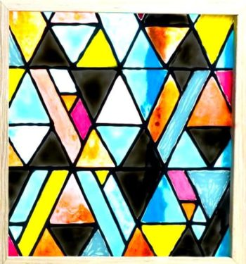 Painted faux stained glass