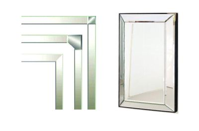 beveled mirror strips are a way to frame mirrors
