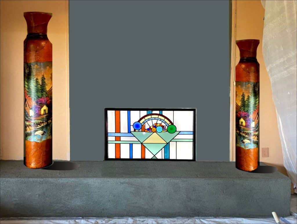 Fireplace after installation of stained glass
