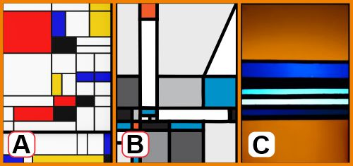 Hard-edge artwork rendered in stained glass