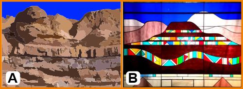 Abstract stained glass with geological strata