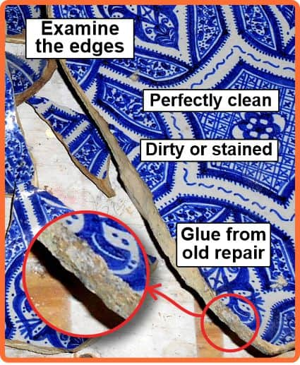 Examine edges for dirt or glue