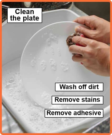 Clean the plate before gluing