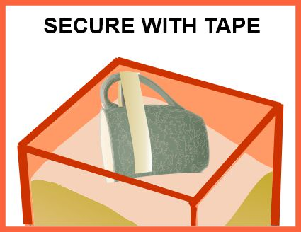 Secure handle with tape