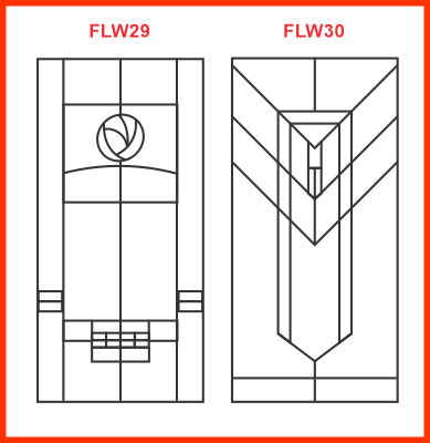 Cabinet doors in the charles rennie mackintosh and Frank Lloyd Wright-styles