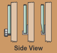 Side views of mirror clips