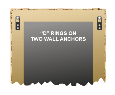 Attach mirror to the wall with D rings