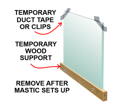 Temporary support for mirror