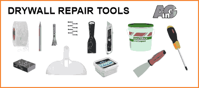 Tools for drywall repair including putty knives and spackling
