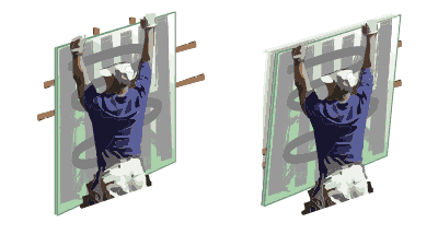 Pulling mirror away from wall