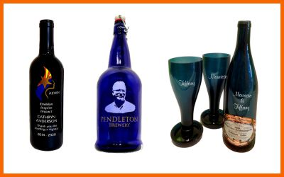 Etched, recycled bottles