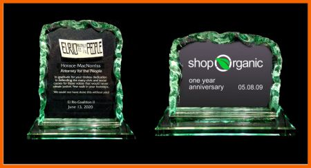 Recycled green glass awards