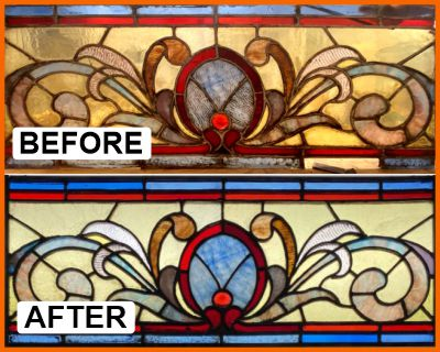Art deco stained glass restored