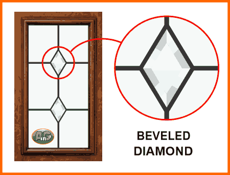 Leaded glass with beveled diamonds
