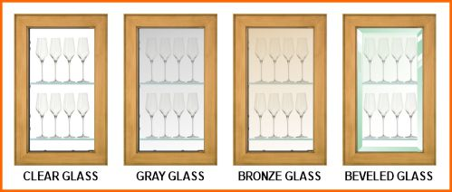 Clear, gray, bronze & beveled glass