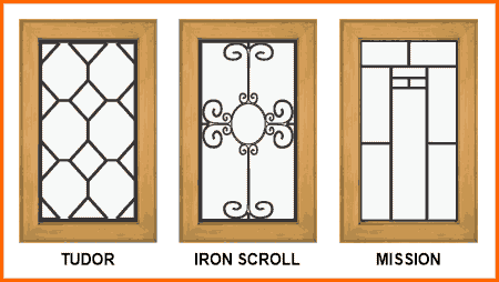 Leaded glass cabinet inserts in Tudor, nouveau & deco styles