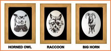 Owl, Raccoon and Sheep etched on Cabinet doors