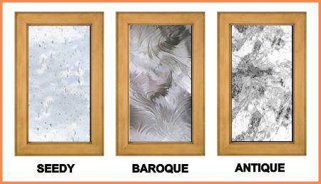 Textured art glass: Seedy. baroque and antique