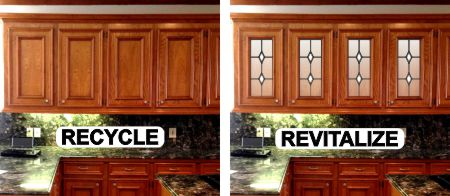 Replace wooden doors with art glass inserts