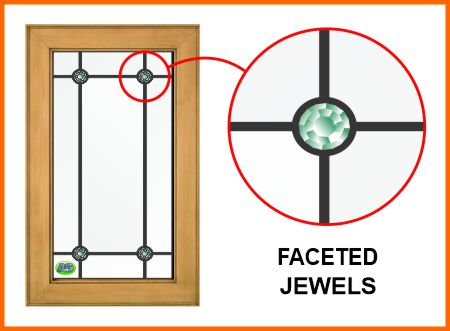 Leaded glass with faceted jewels