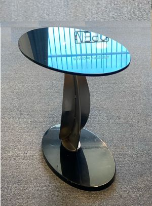 """oval tabletop made from 1/2"""" gray glass"""