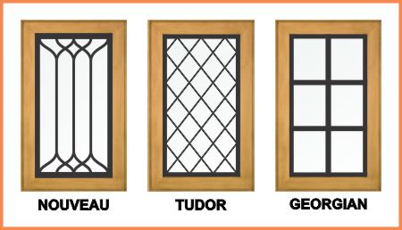 Three styles of overlay leaded glass